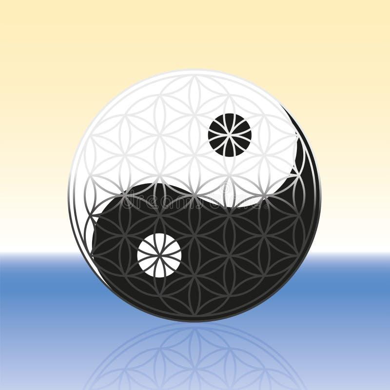 Flor da vida Yin Yang Spheres ilustração royalty free