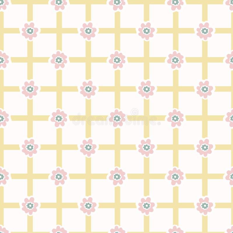 flor Daisy Gingham Seamless Vector Pattern del estilo de los a?os 50 Geom?trico dibujada mano ilustración del vector