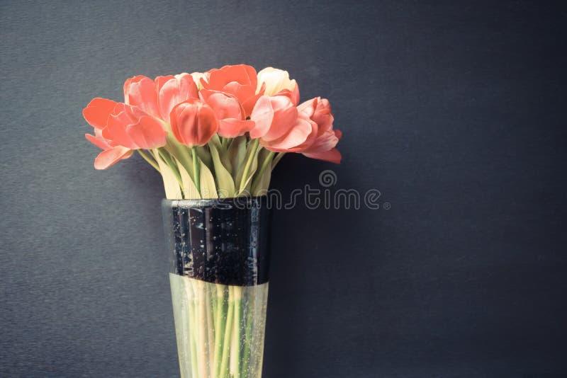 Flor das tulipas no preto foto de stock royalty free