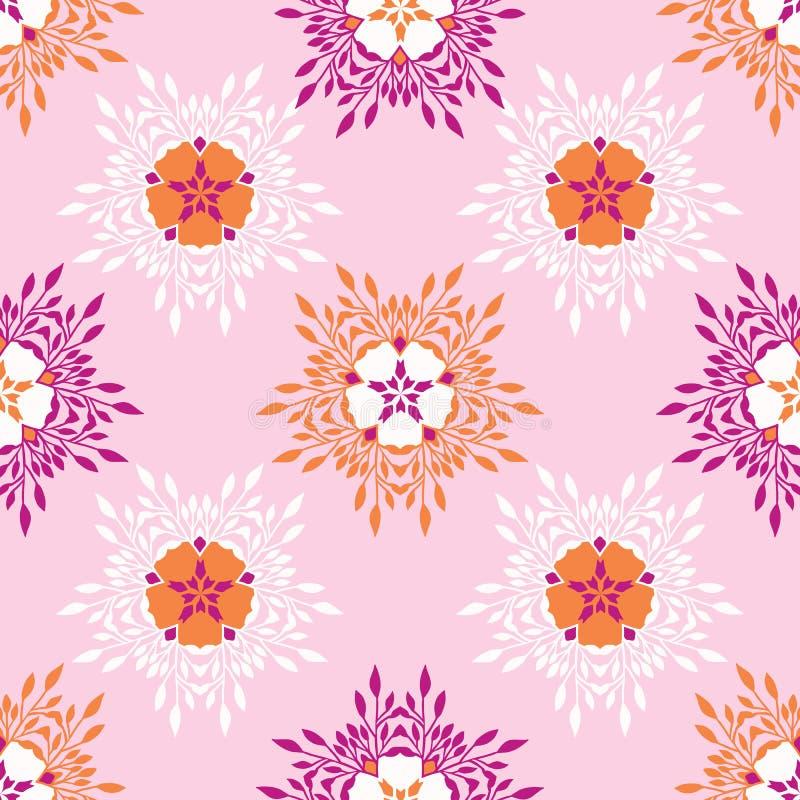 A flor de Boho floresce por todo o lado no vetor da cópia Teste padrão de repetição sem emenda floral colorido ilustração royalty free