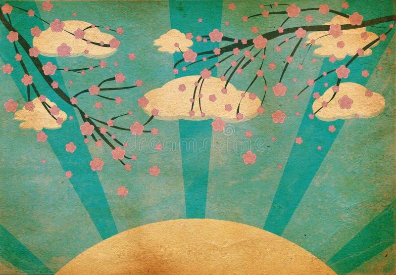 Flor de cereja de Grunge ilustração stock