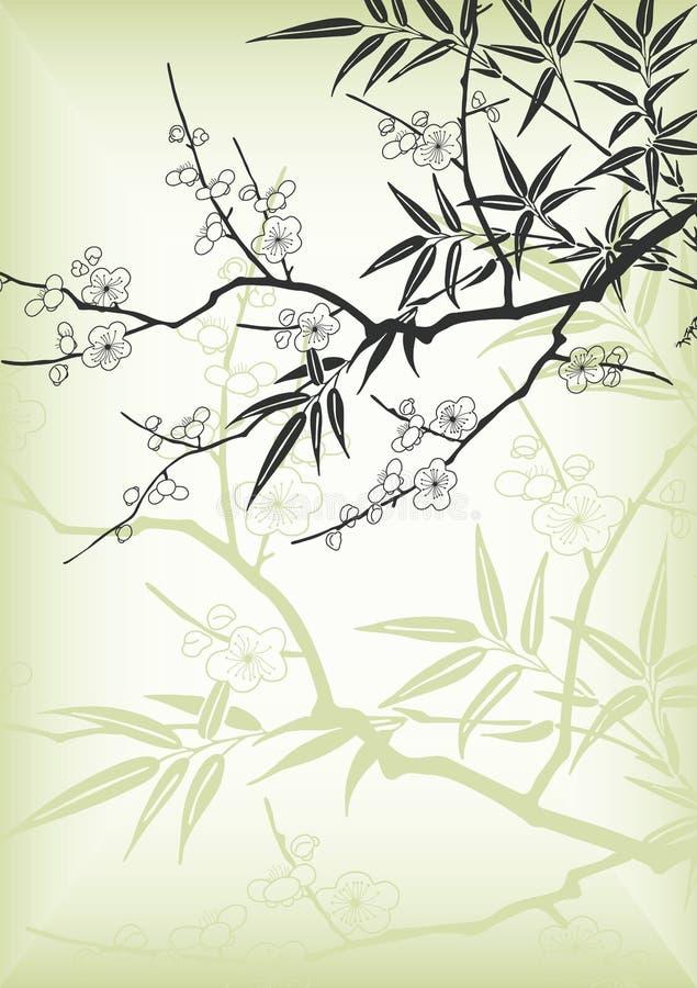 Flor de cereza del estilo de Asia stock de ilustración