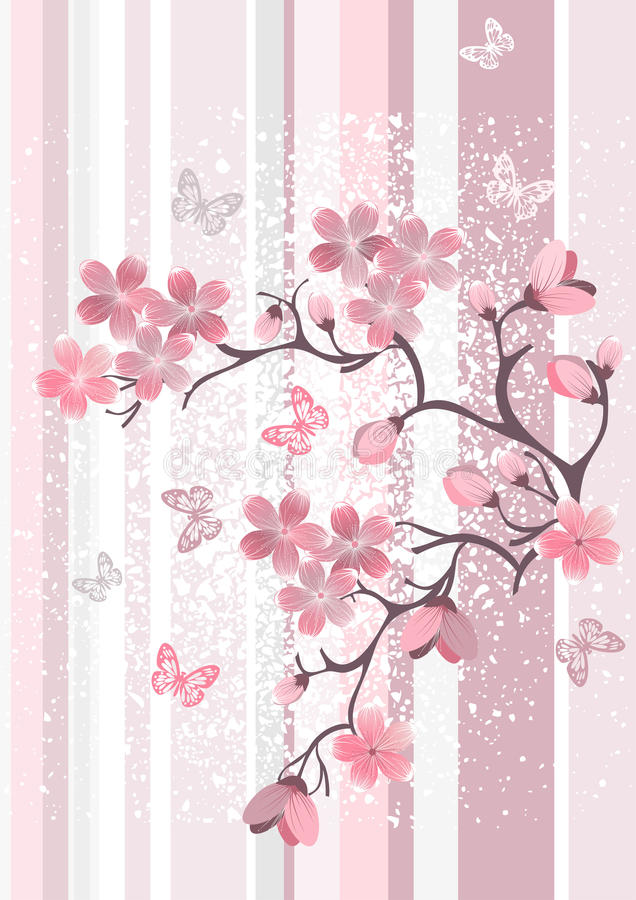 Flor de cereza japonés ilustración del vector