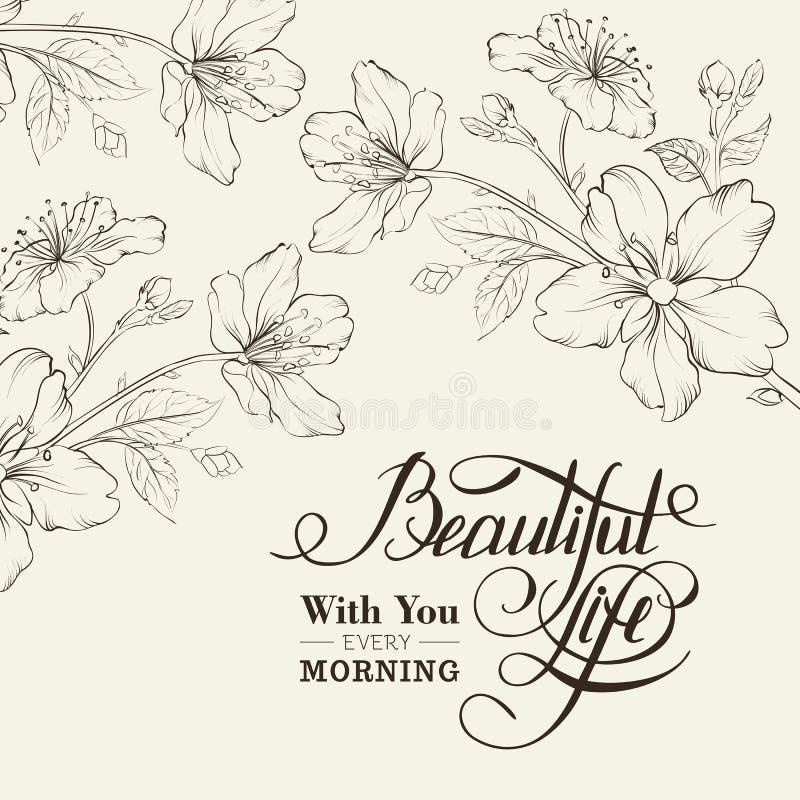Flor de cerezo de la caligrafía. stock de ilustración