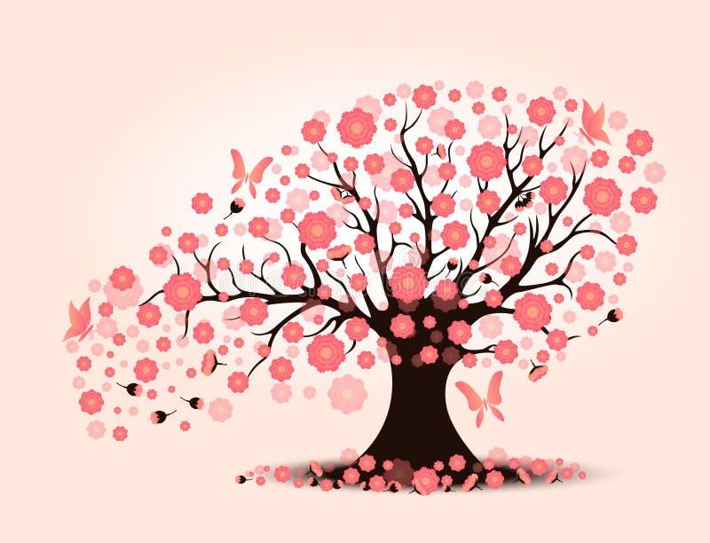 Flor de cerezo hermosa decorativa con el árbol del fondo libre illustration