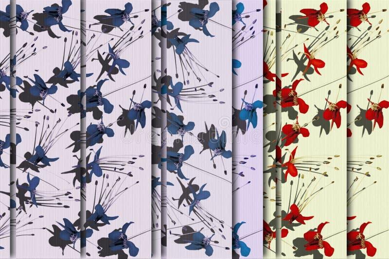 Flor de color de malva y blanca del rojo azul de mariposa libre illustration