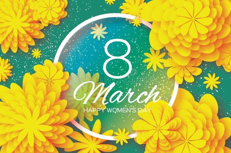 Flor de corte de papel amarilla 8 de marzo Día del ` s de las mujeres de la papiroflexia Marco del círculo Espacio para el texto ilustración del vector