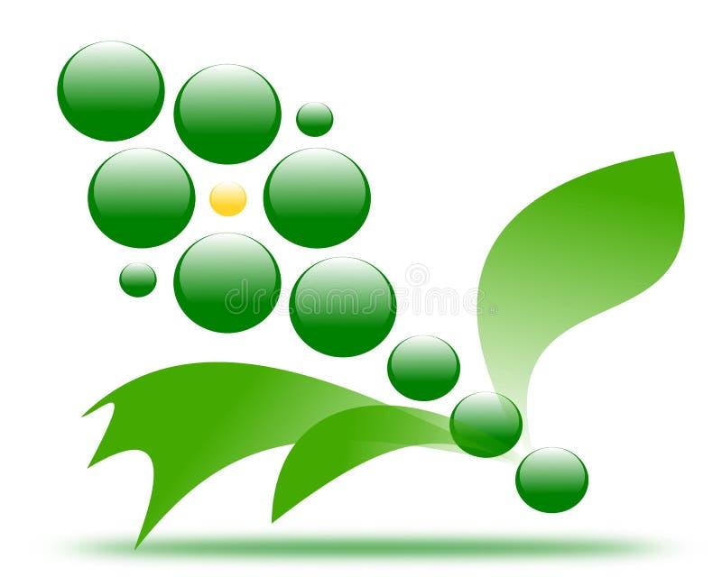 Flor de dibujo del verde del logotipo de la compañía stock de ilustración