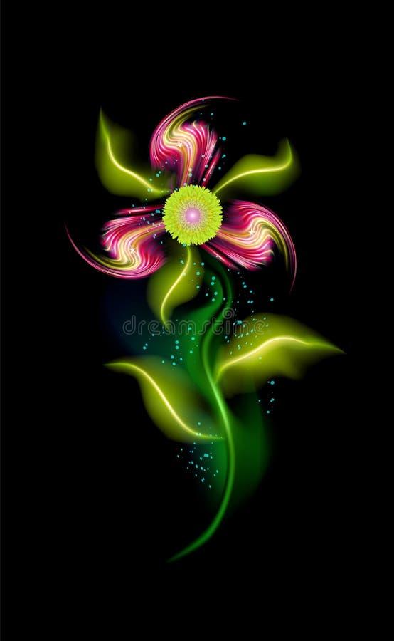 Flor de incandescência moderna vermelha Elemento floral decorativo colorido no fundo preto Ornamento iluminados na moda bonitos c ilustração royalty free