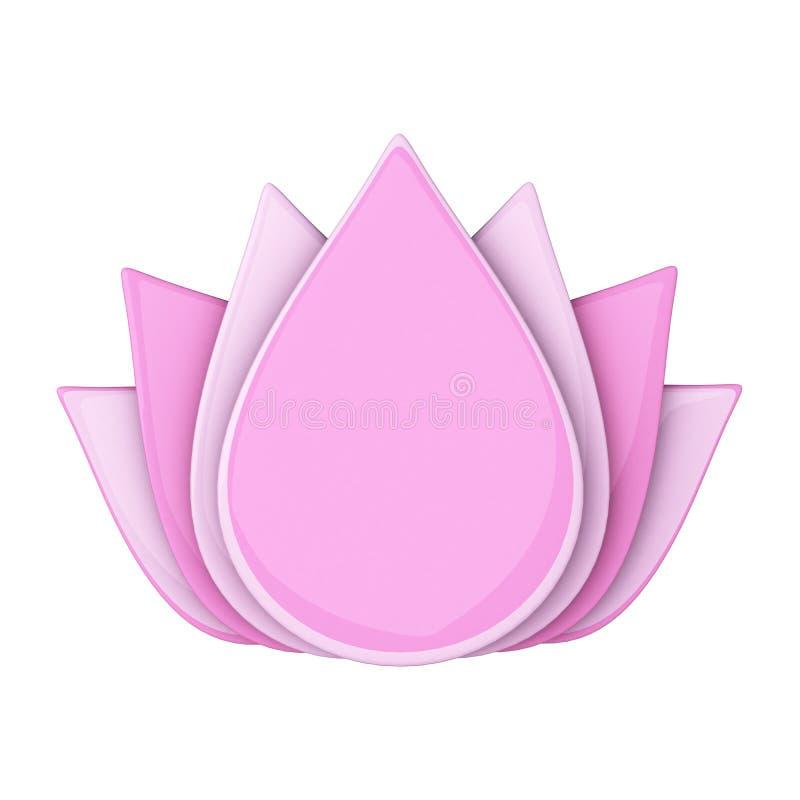 Flor de lótus cor-de-rosa, 3d ilustração royalty free