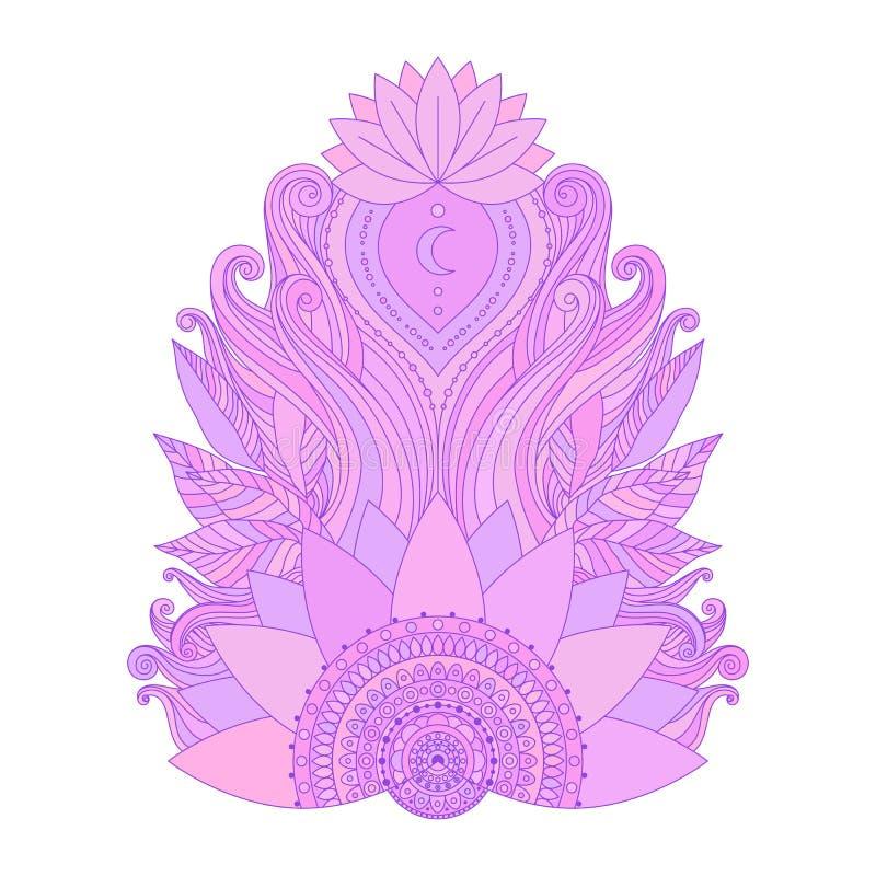 Flor de lótus cor-de-rosa isolada ilustração do vetor