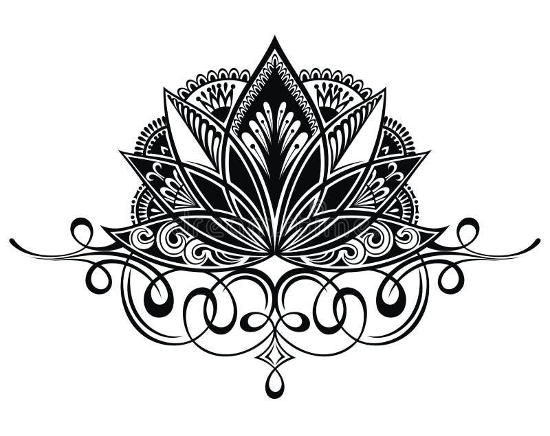 Flor de lótus filigrana ilustração do vetor