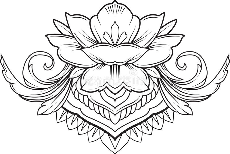 Flor de lótus filigrana, vetor preto ilustração royalty free