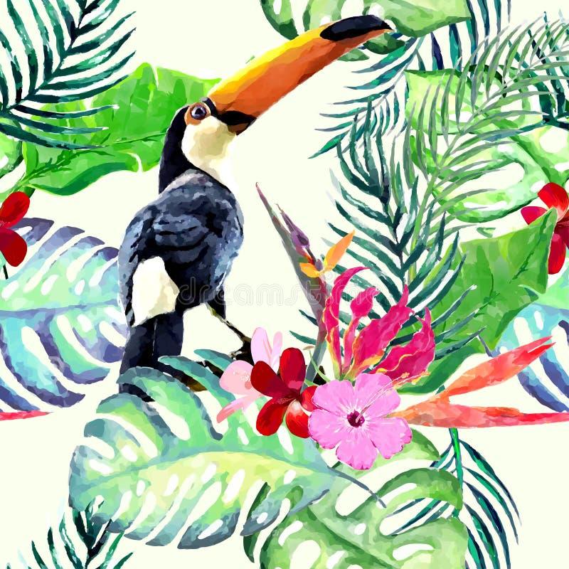 Flor de la acuarela inconsútil stock de ilustración
