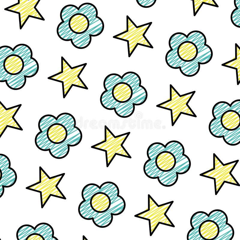 Flor de la belleza del garabato con el fondo brillante de la estrella ilustración del vector