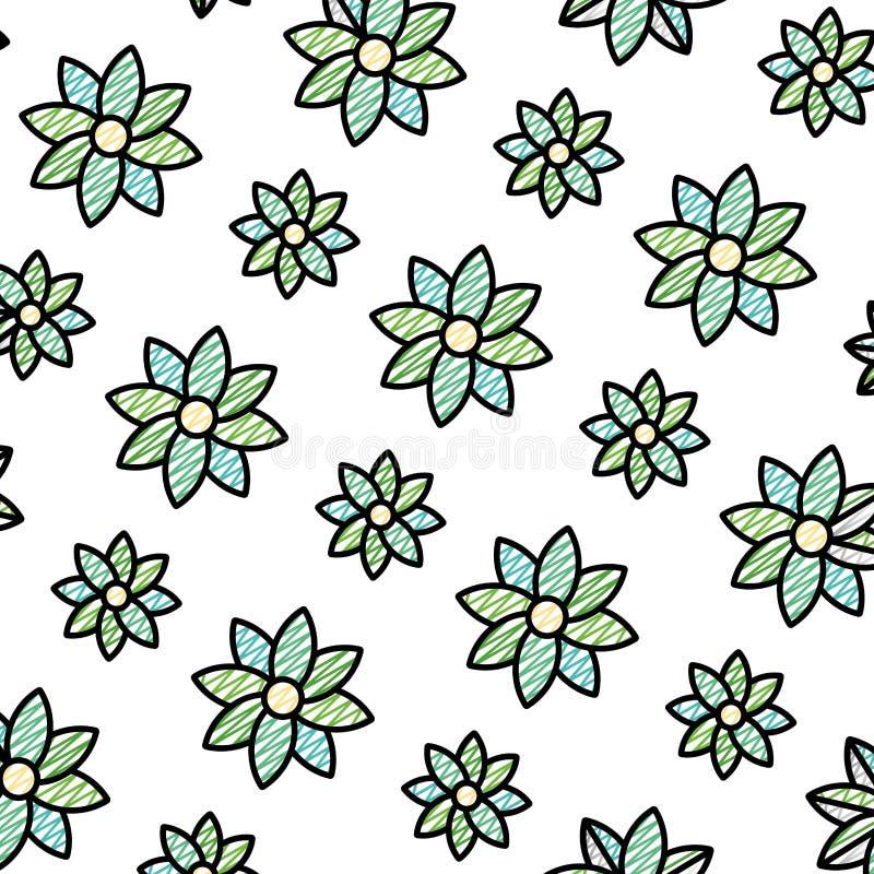 Flor de la belleza del garabato con el fondo natural de los pétalos stock de ilustración