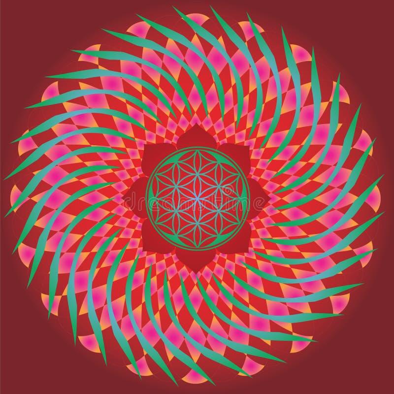 Flor de la edición de la primavera del germen de la vida mandala-para el diseño y el medita libre illustration