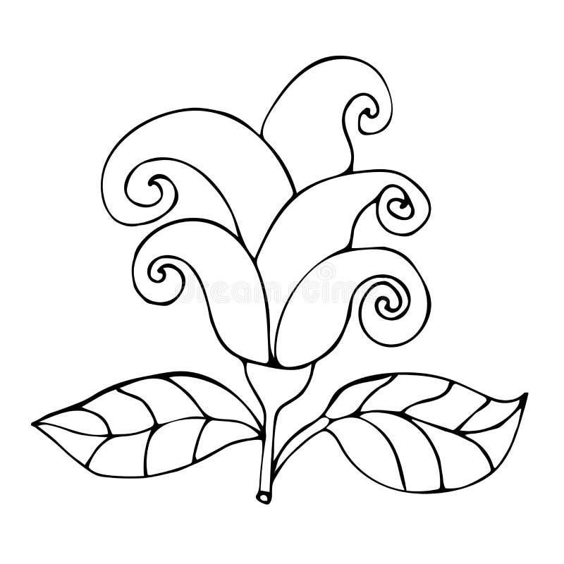 Flor de la fantasía del esquema con los pétalos rizados para el libro de colorear para los adultos aislados libre illustration
