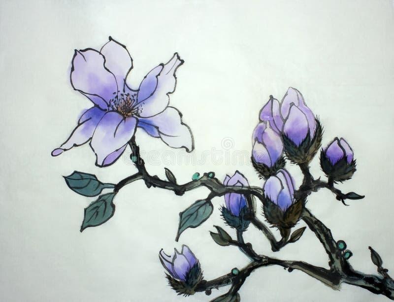 Flor de la magnolia de la lila ilustración del vector