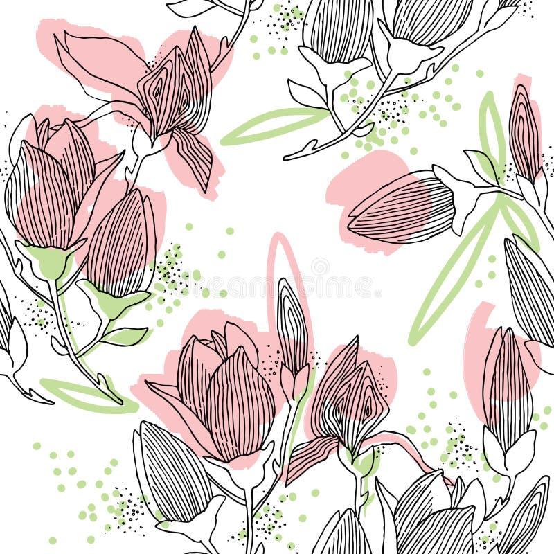 Flor de la magnolia modelo inconsútil con la flor de la primavera stock de ilustración
