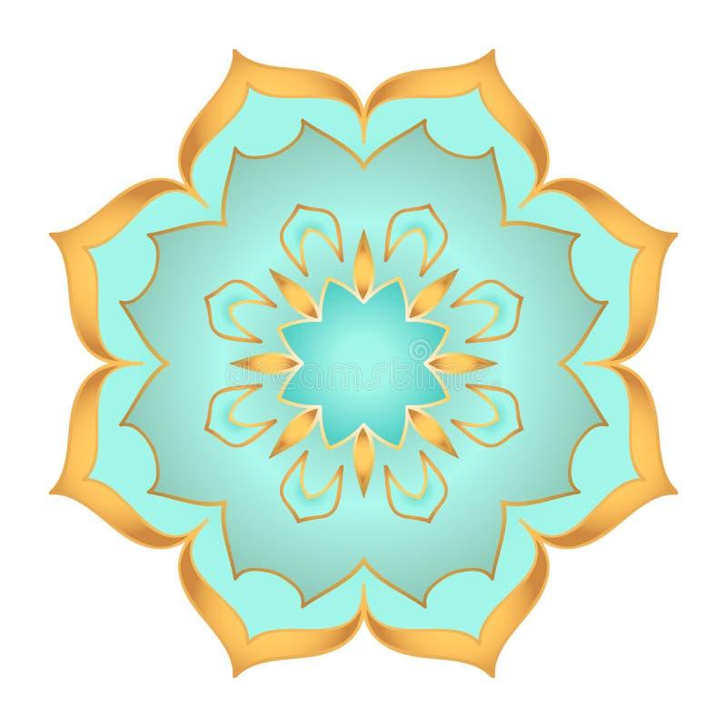 Flor de la mandala en colores hermosos del oro y de la turquesa en el fondo blanco libre illustration