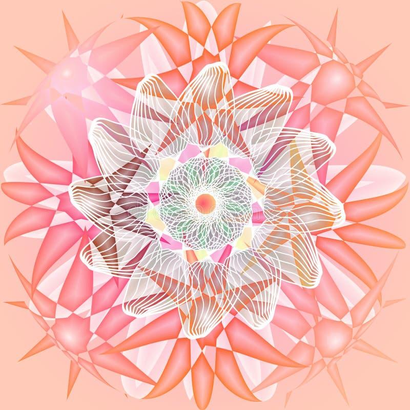 Flor de la mandala Fondo rosado llano ESTRELLAS EN PLATAFORMA DE LOS COLORES EN COLORES PASTEL FLOR LINEAR CENTRAL EN BLANCO ilustración del vector