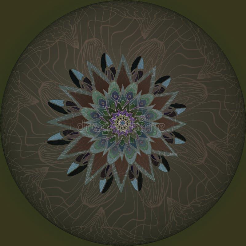 Flor de la mandala FONDO VERDE OSCURO LLANO CÍRCULO LINEAR CENTRAL EN LA FLOR DE BROWN EN GRIS, BROWN Y PÚRPURA ilustración del vector
