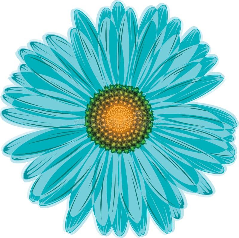 Flor de la margarita azul del Aqua ilustración del vector