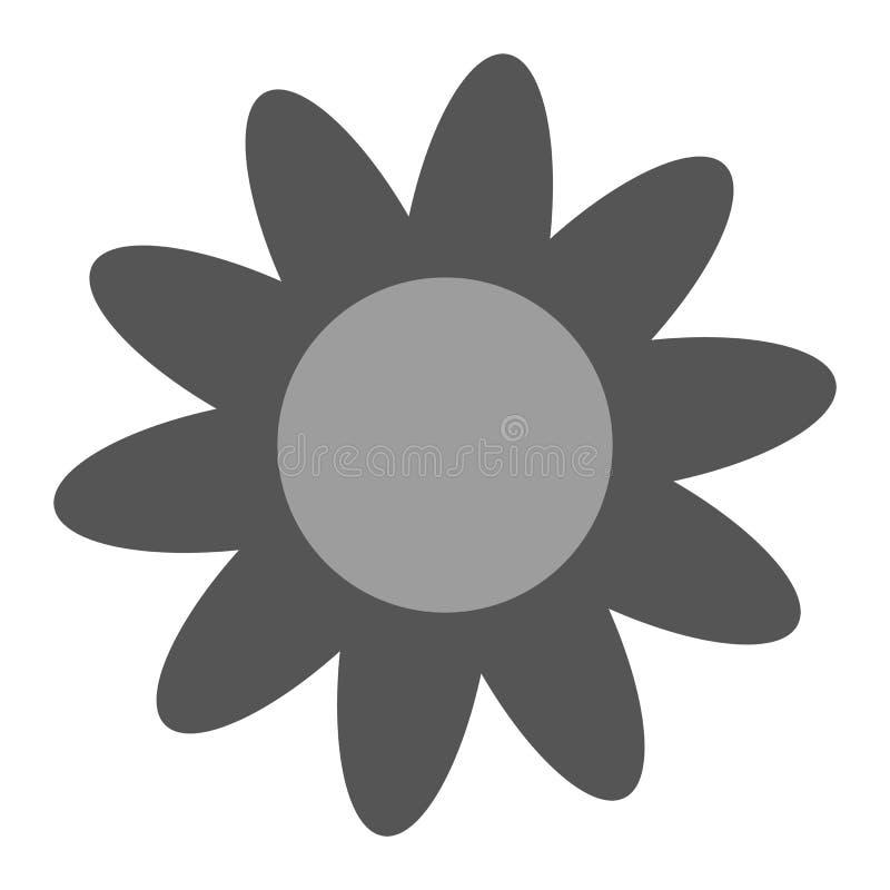 Flor de la margarita del color del gris con los pétalos en el fondo blanco Vector eps10 del icono de la flor de la margarita stock de ilustración