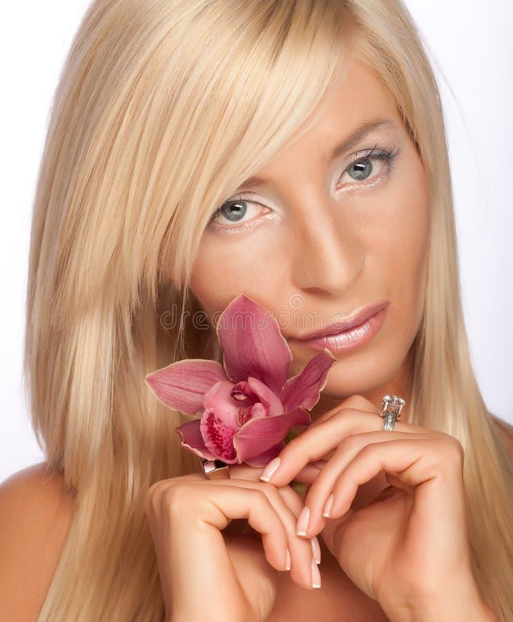 Flor de la orquídea de la explotación agrícola de la muchacha imagen de archivo