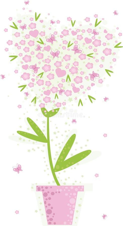Flor de la tarjeta del día de San Valentín ilustración del vector