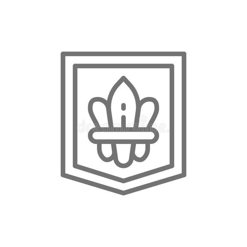A flor de lis, brasão heráldica, flores do lírio alinha o ícone ilustração do vetor