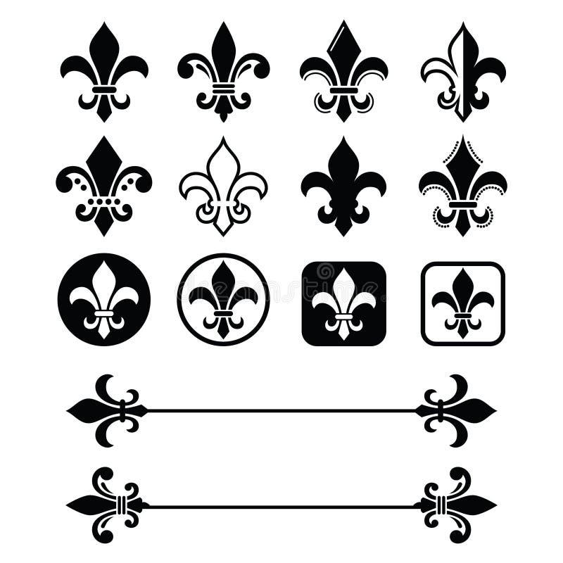 Flor de lis - diseño francés del símbolo, organizaciones de exploración, heralry francés stock de ilustración