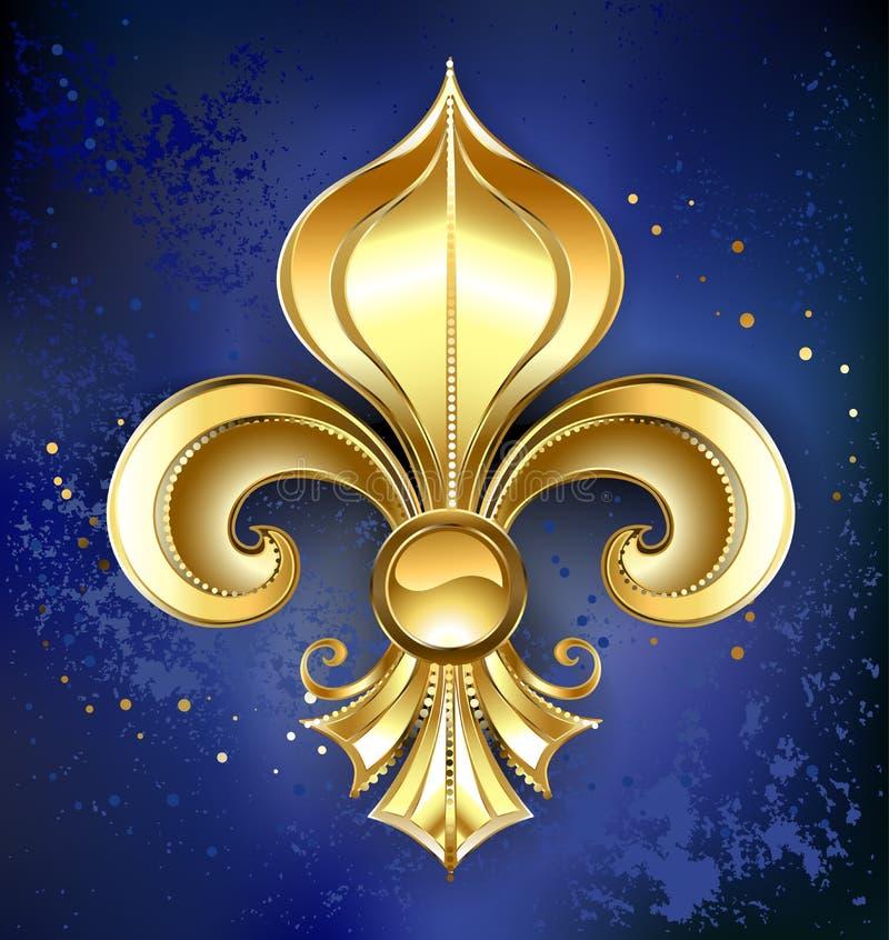Flor de lis do ouro em um fundo azul ilustração royalty free