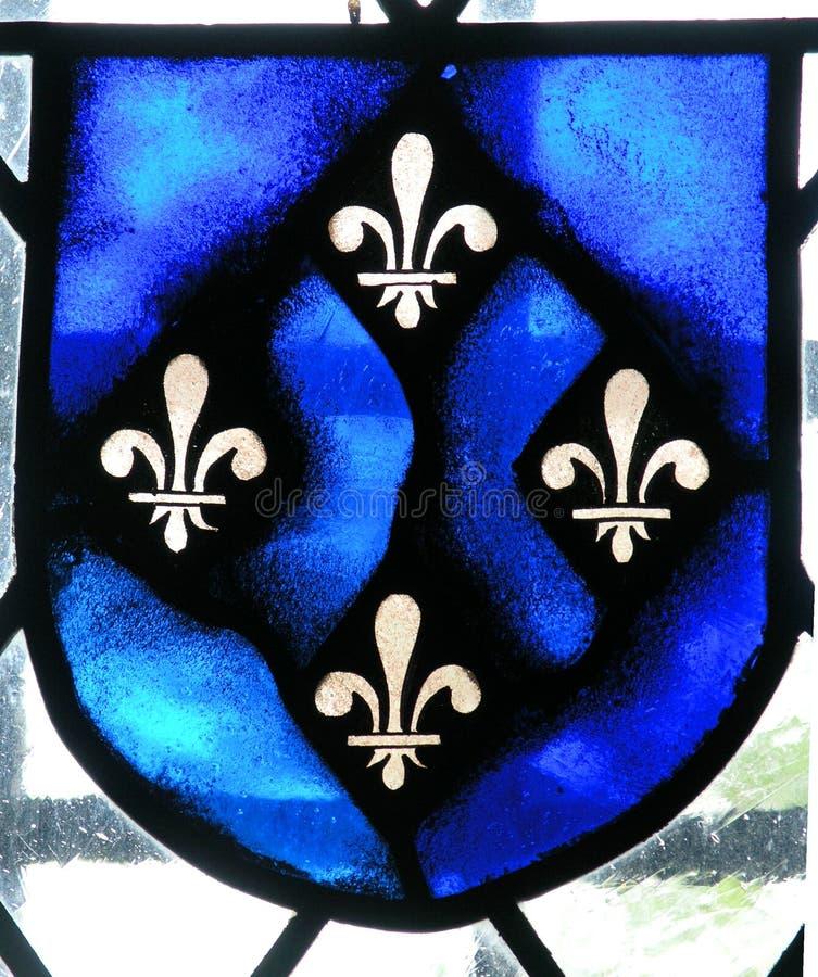 Flor de lis do vidro manchado. fotografia de stock royalty free