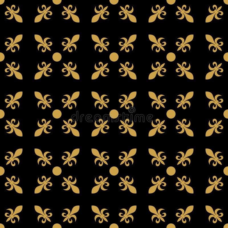 Flor de lis no arranjo diagonal com o ponto no meio Teste padrão sem emenda geométrico retro abstrato Vetor do ouro ilustração stock