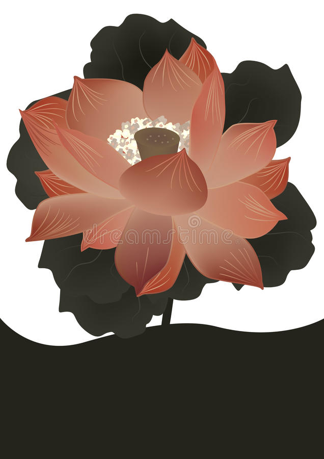 Flor de loto antigua Card_eps ilustración del vector