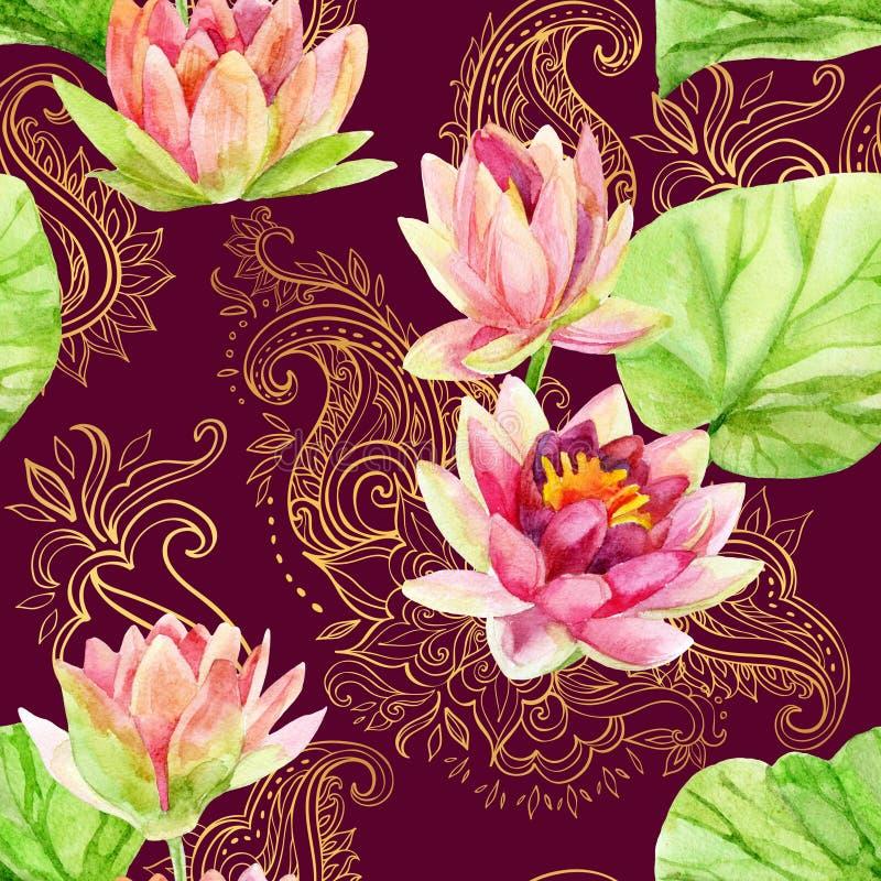 Flor de loto de la acuarela en el ornamento de oro Modelo inconsútil ilustración del vector