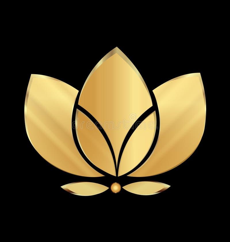 Flor de loto del oro stock de ilustración