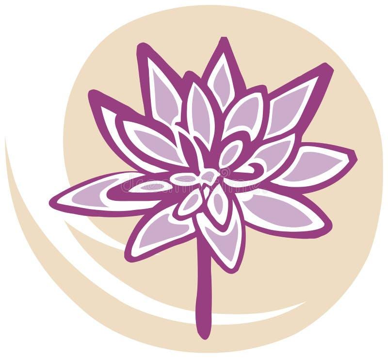 Flor de loto en color de rosa en fondo amarillo stock de ilustración