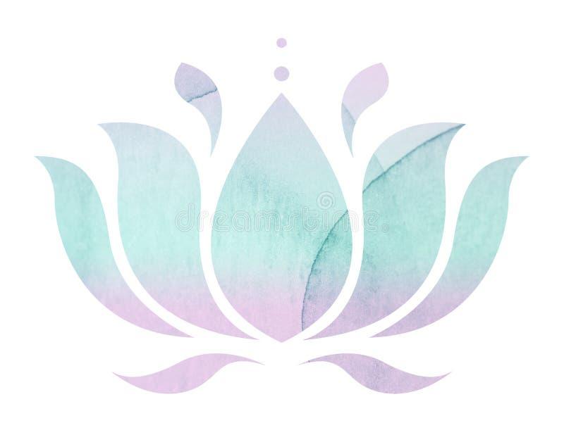 Flor de loto de la acuarela ilustración del vector