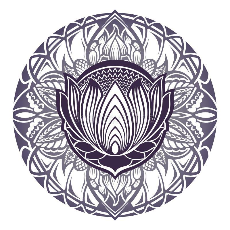 Flor de loto de Mehndi con el marco floral ilustración del vector