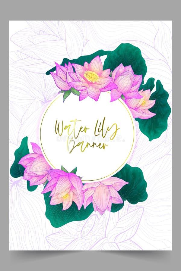 Flor de loto púrpura del drenaje de la mano de la bandera redonda del vector con las hojas verdes con la imitación de la acuarela libre illustration