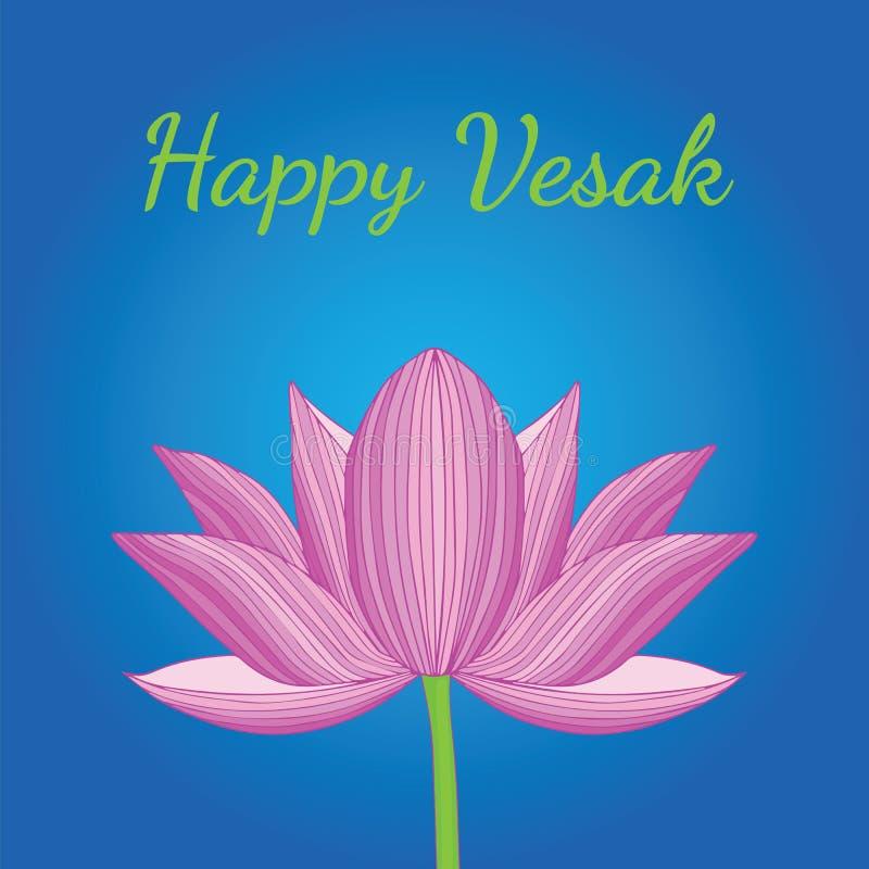 Flor de loto rosada rayada para el día feliz de Vesak ilustración del vector