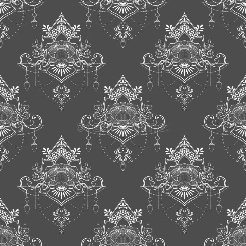 Flor de Lotus en modelo inconsútil del estilo de la meditación de la mandala en tono gris y blanco medio libre illustration