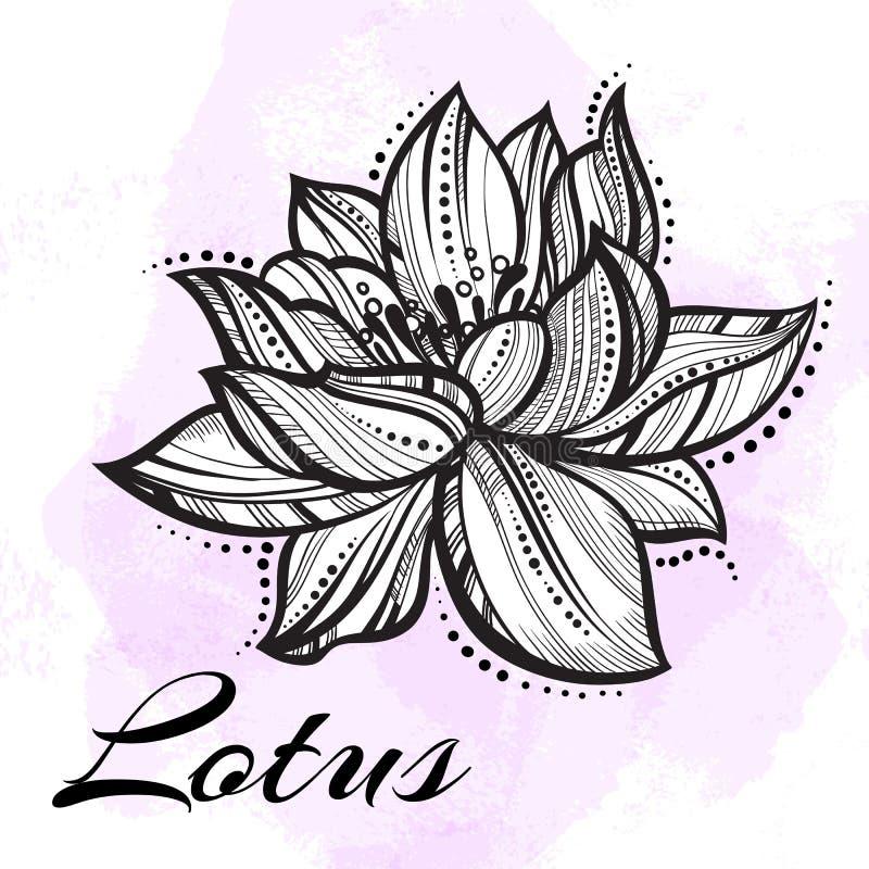 Flor de Lotus hermosa arriba detallada del vector Tatuaje, yoga, spiritualy Arte grabado aislado libre illustration