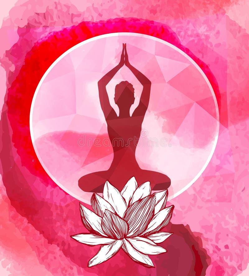 Flor de Lotus y silueta femenina sobre ella Emblema del logotipo de la yoga ilustración del vector