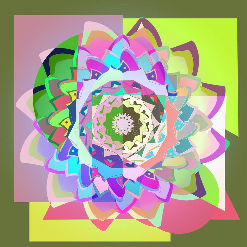 FLOR DE MANDALA DAHLIA Fondo geom?trico Imagen colorida FLOR CENTRAL EN PÚRPURA, VERDE, FUCSIA, AZUL, AMARILLO, ROSADO ilustración del vector