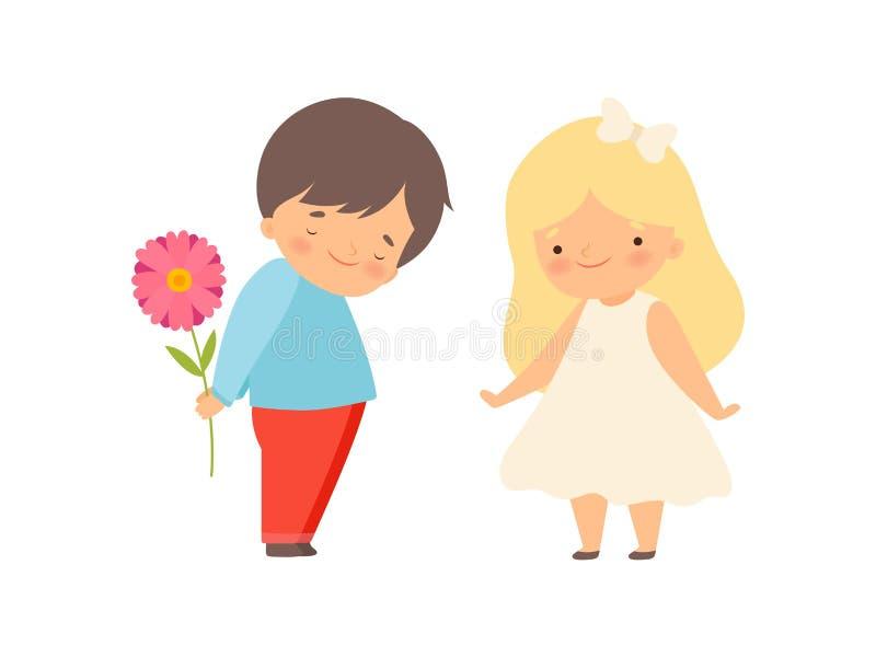 Flor de ocultación avergonzada detrás de su parte posterior, muchacho de Little Boy que da la flor al vector hermoso de la histor ilustración del vector