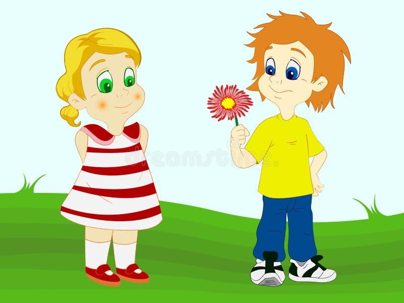Flor de ofrecimiento del muchacho a su novia ilustración del vector